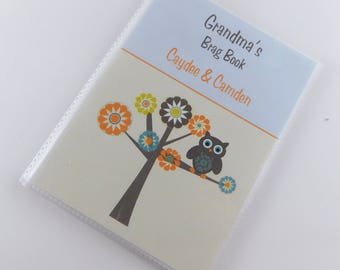 Grandmas Brag Book Baby Photo Album Owl Photo Book Personalized Retro Owl Baby Shower Gift 24 4x6 or 5x7 Pictures Orange Brown 110
