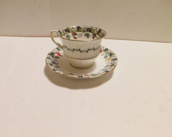 Aynsley B285 colored berries cup and saucer