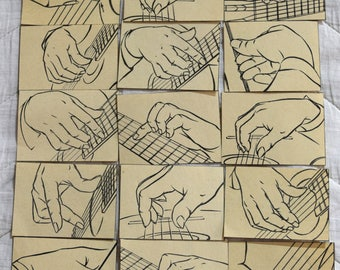 Set of 31 Vintage Book Scrap Collage Paper Ephemera For your projects B&W Illustrations and music notes