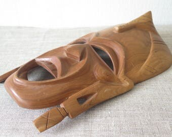 Vintage African Wooden Mask Handmade Mask, 12.3 x 7.2 inch, Tribal African Wood Craft Collectible @228