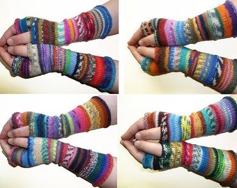SALE 20% OFF Knit Fingerless gloves | Knitted Fingerless Mittens | Long Arm Warmers | Hand Warmers | Boho Glove | Wrist Warmers