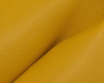 """Vintage Golden Rod Yellow Saffiano """"Uptown"""" Leather Cow Hide 12"""" x 12"""" Pre-cut 3-3 1/2 oz DE-63903 (Sec. 6,Shelf 5,C)"""