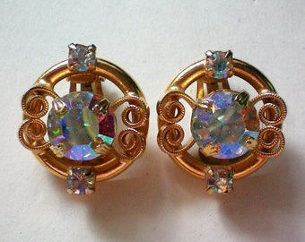 Large Aurora Borales Clip Earrings - 5621