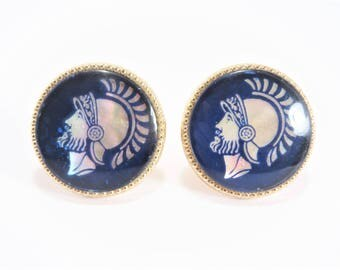 Vintage Spartan Warrior Blue Mother of Pearl Cuff Links
