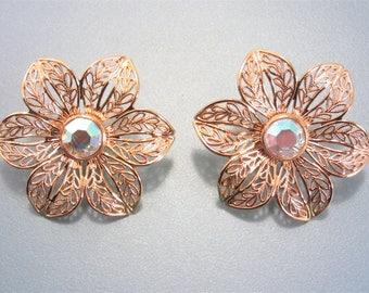 Large Vintage Filigree Flower Earrings Clip On