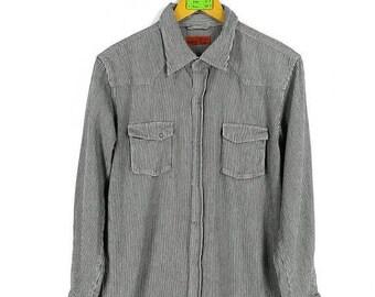 BAFFY Hickory Shirt Medium Vintage 90's Baffy Classic Buttondown Stripes Shirt American Grunge Flannel Denim Jeans Shirt Size M