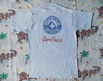 Vintage 60's Alpine Mountain Rescue printed Pocket T shirt, size Medium by Towncraft