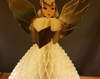 Vintage Angel Paper Tissue Honeycomb Cardboard Cut Out