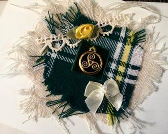 St. Patrick Tartan Card, Gold Triskele Charm-Textile Collage Art Card, Irish Greeting Card, Irish Gift & Card.