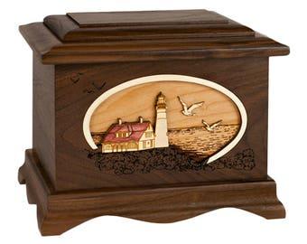 Walnut Portland Head Lighthouse Ambassador Wood Cremation Urn