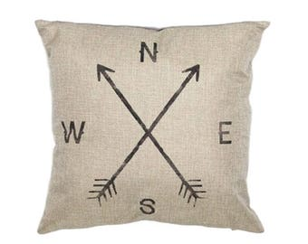 "Cardinal Points Pillow Cover, Cotton Linen Poly Blend, Decorative Pillows, Home Decor, Cushion Cover, Arrows, Compass, Directions, 18"" X 18"""