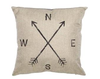 "Cardinal Points Pillow Cover, Cotton Linen Poly Blend, Decorative Pillows, Home Decor, Cushion Cover, Arrows, Compass, Directions, 18"" X 18"""