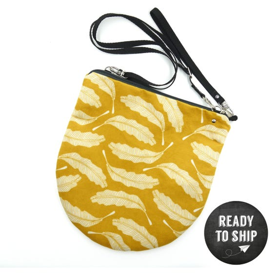 """Yellow graphic """"feather"""" shoulder bag, LARGE brushed Poly Pochette"""