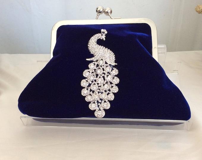Royal Blue Velvet Crystal Peacock Clutch Purse Handbag