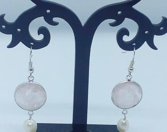 Mother's Day Gift Sterling Silver ,Pearl and Rose Quartz Bezel Set Earrings