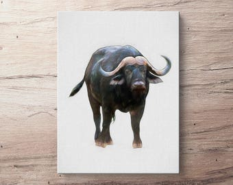Cape Buffalo - Africa Oil Painting Giclee Gallery Mounted Canvas Wall Art Print