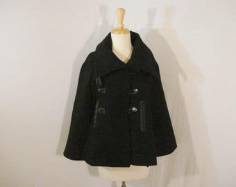 Black Wool Cape Jacket Wrap Military Style Lether Details Vintage Chic SM