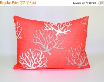 20% OFF SALE Designer pillow  Cushions , Salmon pillow cover, nautical pillow, coastal pillow, seahorse, starfish, ocean beach pillow , ZIPP