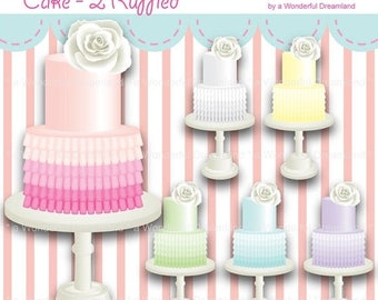 50% OFF Ruffled Cake 2 - PDF PNG Instant Download Printable Clipart Clip Art Digital File