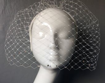 Bridal wedding handmade ivory birdcage veil with with clear swarovski crystals on ivory satin headband - can be ordered in different colours