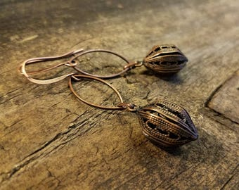 Copper Earrings, Boho Earrings, Metal Earrings
