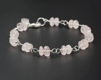 Rose quartz bracelet rose quartz sterling silver handmade semiprecious stone link bracelet stacking bracelet gemstone  bracelet pink silver