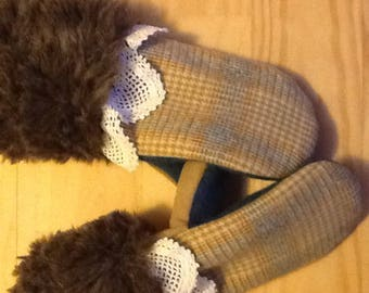 Recycled Wool and Faux Fur Mittens