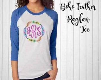 Monogram Shirt, Boho Feather Monogram Raglan Tee, Antler Raglan, Monogram T-Shirt