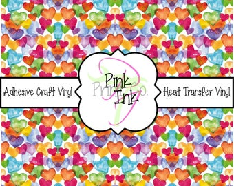 Valentine's Printed Vinyl, Heart Patterned Adhesive Vinyl and Heat Transfer Vinyl in pattern 1009