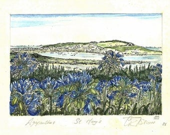 Isles Of Scilly - Agapanthus Flower Watercolour Paintings - Seascape - St Mary's - G Elsmore Landscape - Signed Limited Editions 1988