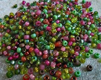 8/0 Miyuki Seed Bead Mix, 25 grams, Greens/Pinks (0061)