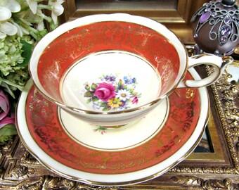 Paragon Tea Cup and Saucer Orange & Floral Pattern Teacup
