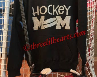 Hockey Mom hoodie sweatshirt laces customized