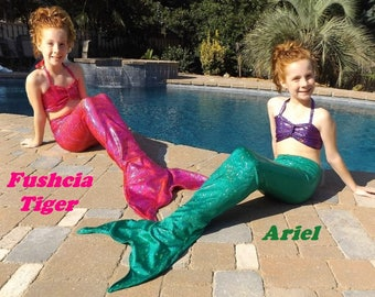 Mermaid tail.  8 Colors Swimmable Walkable or Party tails. Choose fabric tail or tail/top mermaid swim tail costume.