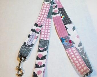 OOAK Fabric Dog Leash Large Dog Leash Multi Print Pink Charcoal Grey White