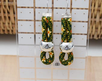 Fabric dangle earrings, African fabric earrings, ankara earrings, afro earrings, gift for women