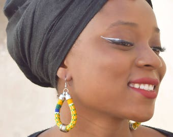 Kente Fabric Hoop Earrings, African Fabric Earrings, African Jewellery, Statement Earrings, Bijoux Africains