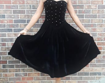 1980s Black Velvet Rhinestone Bodice Prom Dress by POSITIVELY ELLYN