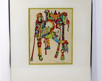 Mid Century Modern Pen & Ink Drawing Signed and Dated by Clyde Ball 1977