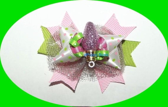 Puppy Bows ~ CHRISTMAS pink green white bulb boutique loopy dog hair bow pet clip or latex bands  (fb44)