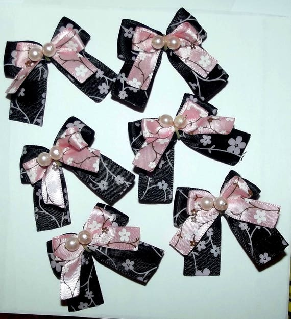 Puppy Bows ~6 black pink Japanese floral EVERYDAY BOWS Yorkie Maltese Shih Tzu ~Usa seller (fb81)