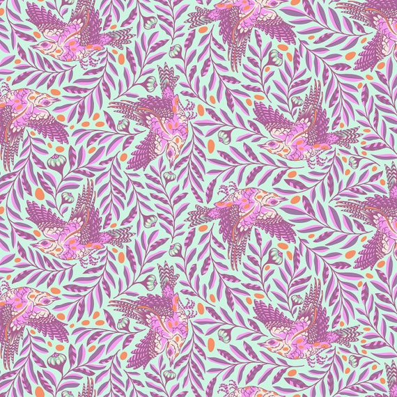 "FQ RE-TWEET Aurora Purple on DuckEgg Spirit Animal Tula Pink  Fat Quarter 18 x 22 Fat Quarter 18""x22"""