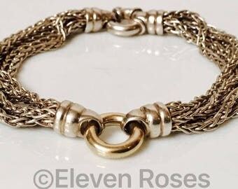 Multi Chain O Ring Station Bracelet Two Tone 925 Sterling Silver 585 14k Gold