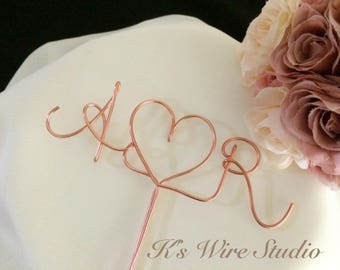 A Custom Wedding Cake Topper, Initials Wedding Cake Topper, Monogram Cake Topper,  Wire Heart Cake Decorations, A Custom Wire Decorations