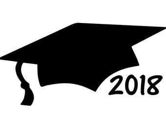 Graduation Cap Car Decal, 2018 Graduation Gift, Class of 2018 Vinyl Decal, Graduation Party Decorations, Graduation Sticker, Vinyl Car Decal