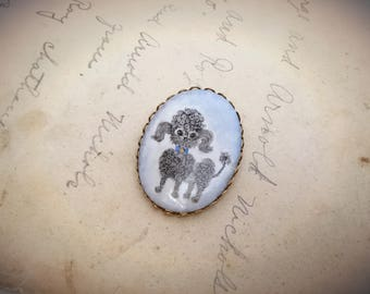 Vintage Ceramic Cameo Poodle Dog Brooch