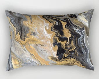 Black and Gold Marble Pillow Case - art deco, gold vein marble  bedroom decor, art, curate the bedroom