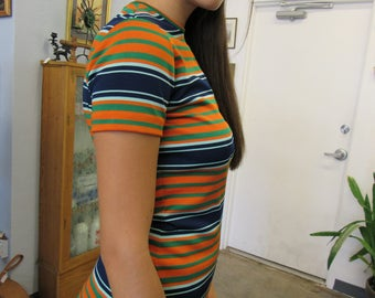 1960s Blue and Orange Striped Polyester Women's Scooter Shirt Size 8-10
