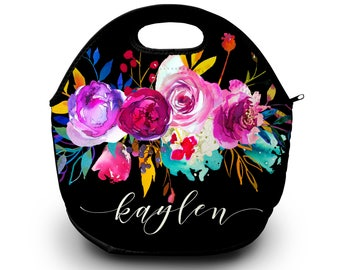 Monogram Lunch Bag | Floral | Personalized Lunch Tote | Gift For Her | Lunch Bag for Women