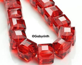 Crystal beads 5mm - bright red Cubes
